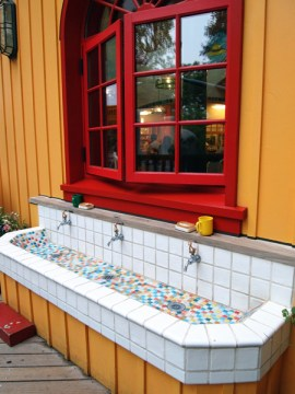 ghibli museum cafe mosaic sink
