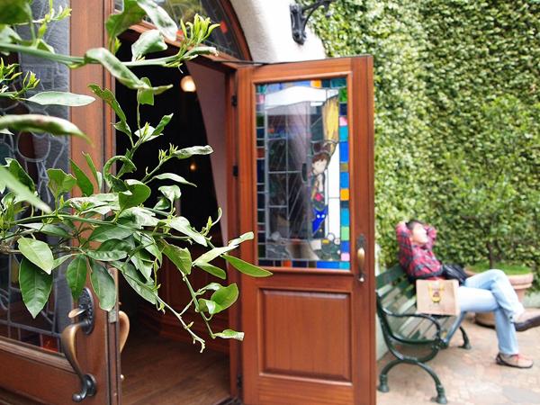 Ghibli Museum - Stained Glass Door Panel in Patio Garden