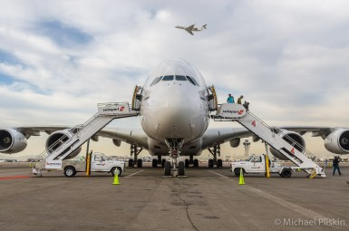 First Airbus A380 super jumbojet at LAX airport in Los Angeles
