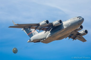 Boeing C-17 Globemaster III drops cargo