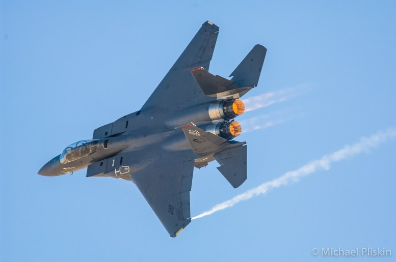 F-15E Strike Eagle with afterburners lit