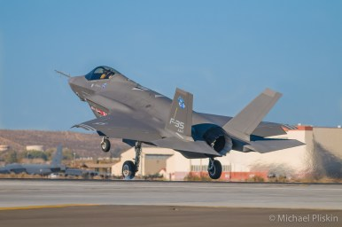 F-35A Lightning II JSF Joint Strike Fighter lands after a test flight at Edwards AFB.