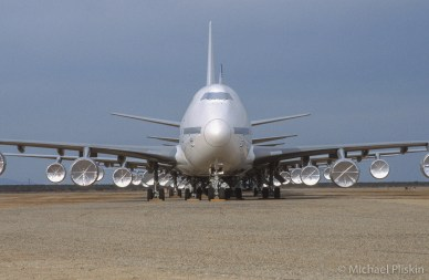 Boeing 747-400 Jetliners in storage at Mojave Airport in the desert