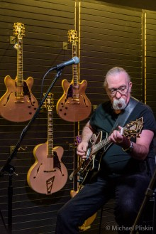 """Jeff """"Skunk"""" Baxter (Steely Dan and the Doobie Brothers) performs with Gene Cornish (R & R Hall of Fame member with The Rascals) at the D'Angelico guitar booth"""
