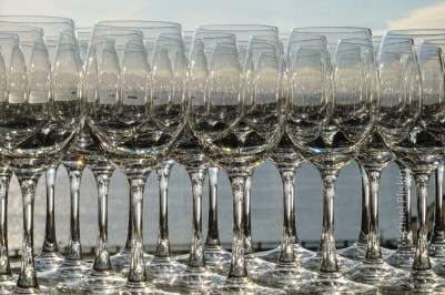 Puget Sound in Seattle, WA, as seen through an array of wine glasses