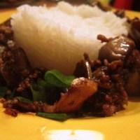 Chinese aubergine + gehakt in de wok