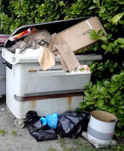 Trop de déchets au pied du container à ordure ménagère