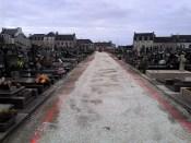 Démarrage des travaux au cimetière de Plonéour-Lanvern, fin mars 2018
