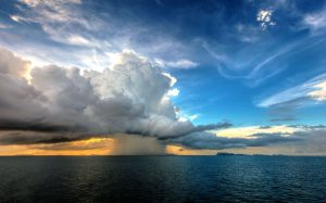 On the way back from one of the trips with a storm over Ang Thong Marine Park at sunset.