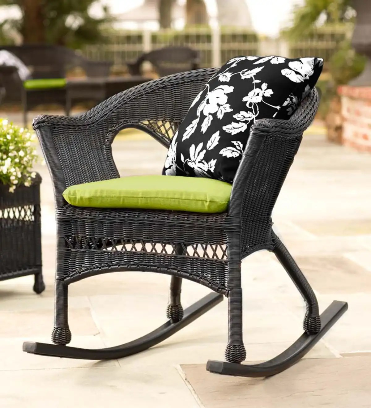 Black Wicker Rocking Chairs Easy Care Resin Wicker Rocker All Weather Wicker