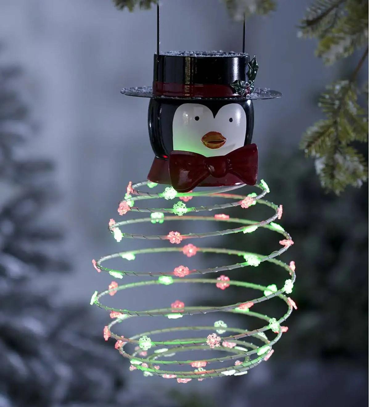 Solar Powered Penguin Hanging Decoration  PlowHearth