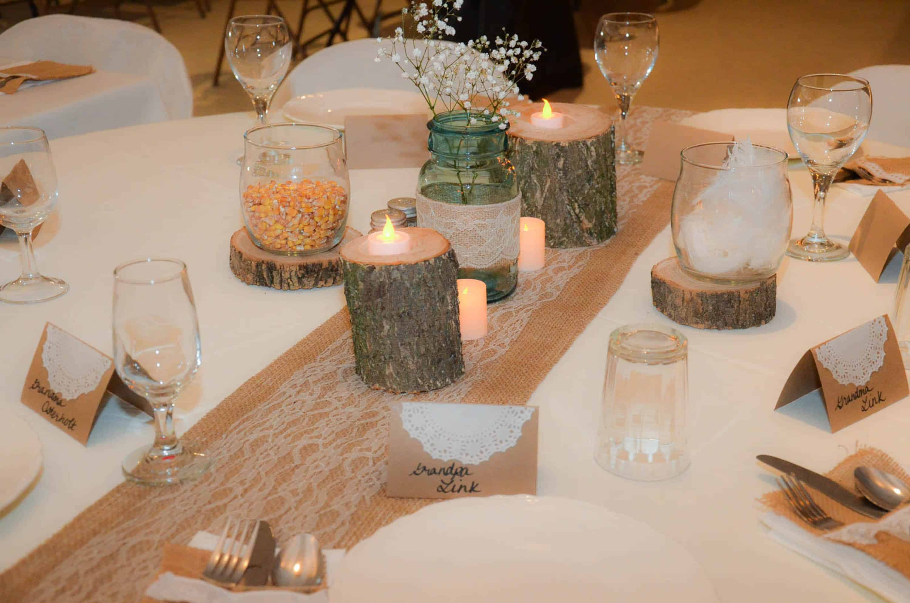 Burlap and lace country wedding decorations plowing