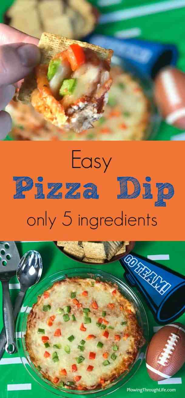 Easy snack for party is easy pizza dip with only 5 ingredients.  Great for a tailgate, party appetizer or fun pizza snack.