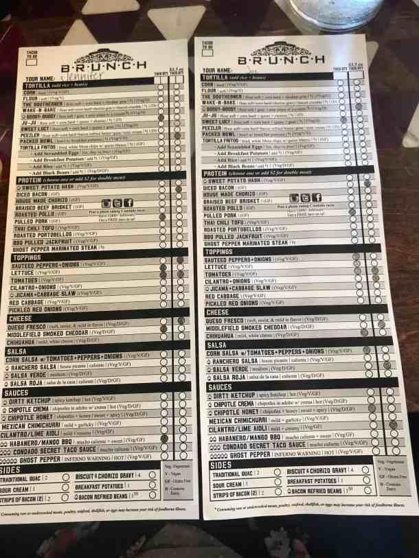 condado taco order