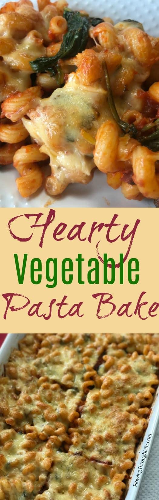 This Hearty Vegetable Pasta Bake recipe is full of flavor from the vegetables, sun dried tomatoes and cheese.
