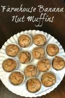 Round white platter of banana nut muffins