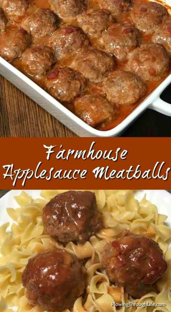 These Farmhouse Applesauce Meatballs are the best meatballs I've ever eaten! Our family loves the basic ingredients that that add a nice flavor and keep these meatballs moist!