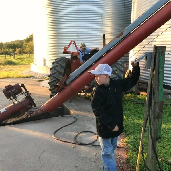 starting farm augers to unload corn