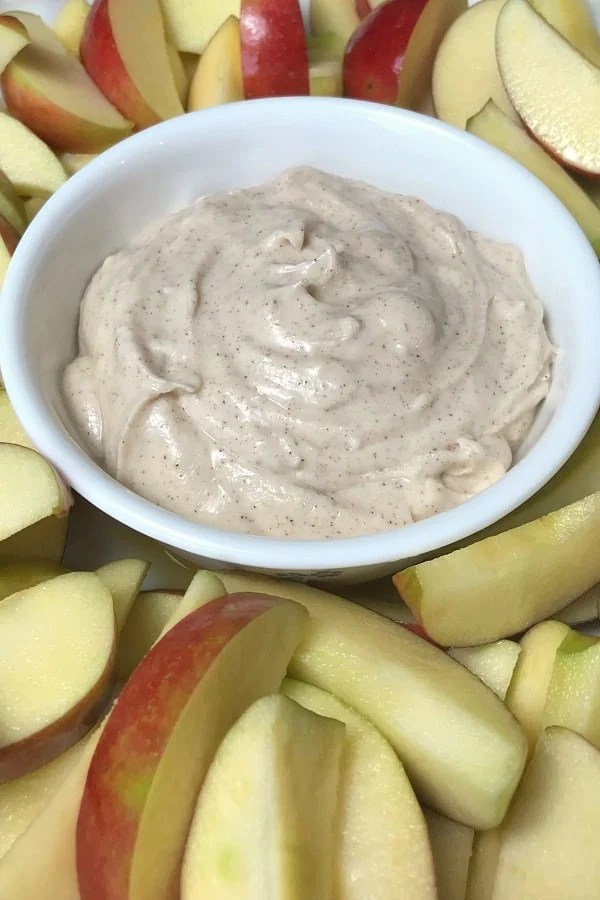 Are you looking for the perfect fruit dip recipe?  I didn't even think I liked fruit dip until I tried this Easy Cinnamon Fruit Dip.  The perfect dip for fresh apples, this fruit dip is so good I couldn't stop eating it!