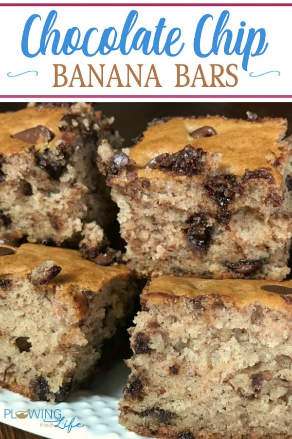Chocolate chip banana bars are a spin on banana bread into a bar and adding plenty of chocolate chips