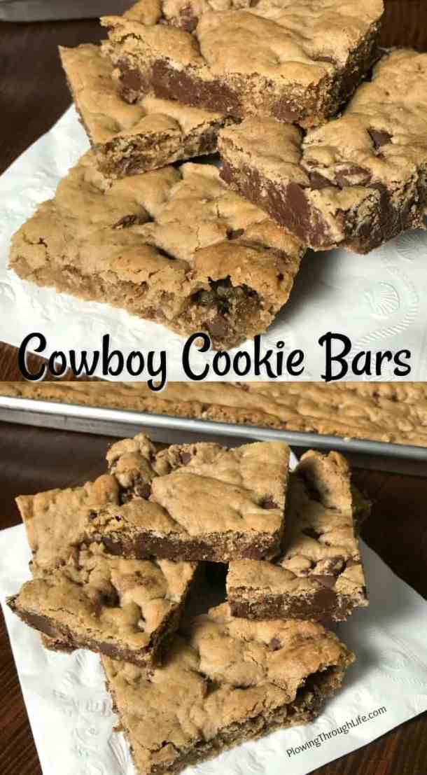 Are you craving a quick and delicious chocolate and oatmeal bar cookie recipe?  Then these Cowboy Cookie Bars are for you! These are the best bar cookies I've ever eaten! #cookiebar #easycookierecipe