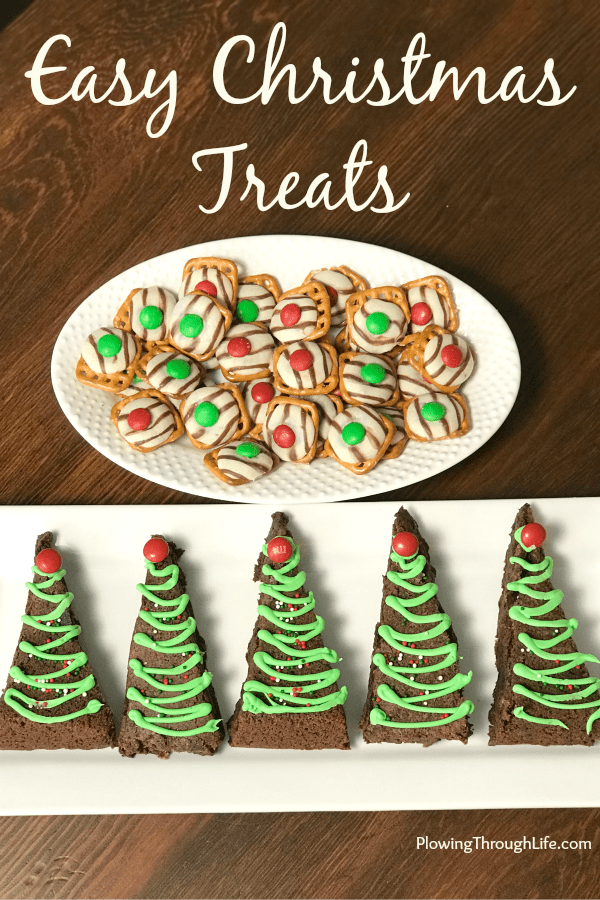 These three Easy Christmas Tree Treats are perfect for kids to help make and enjoy over the holidays.  These Christmas tree and candy treats look cute and taste even better! #Christmasdessert