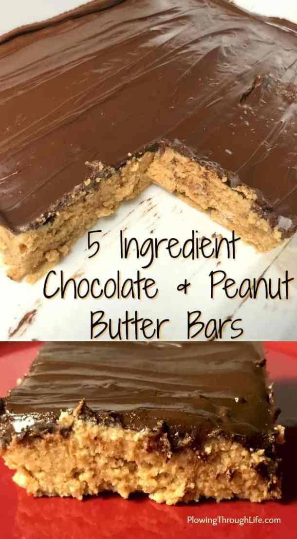 This easy no-bake dessert is the perfect combination of chocolate and peanut butter! With only 5 ingredients these chocolate and peanut butter bars are fast, easy and DELICIOUS!