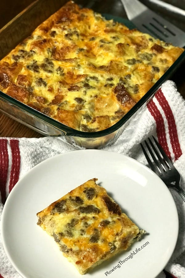 As farmers, we love easy casseroles that feature food we raise.  This Easy Egg & Sausage Casserole is perfect for brunch, a weeknight meal, or a nice breakfast.  The casserole is perfect as is, or it can be cut into pieces and served on a sandwich.  #easycasserole #eggcasserole