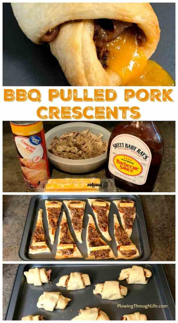 My family loves BBQ pulled pork and we're always looking for easy meal ideas. These Easy BBQ Pulled Pork Crescents are the perfect meal, snack or appetizer. Only four ingredients and 20 minutes are needed to have this meal on the table! #easyrecipe #bbqpork