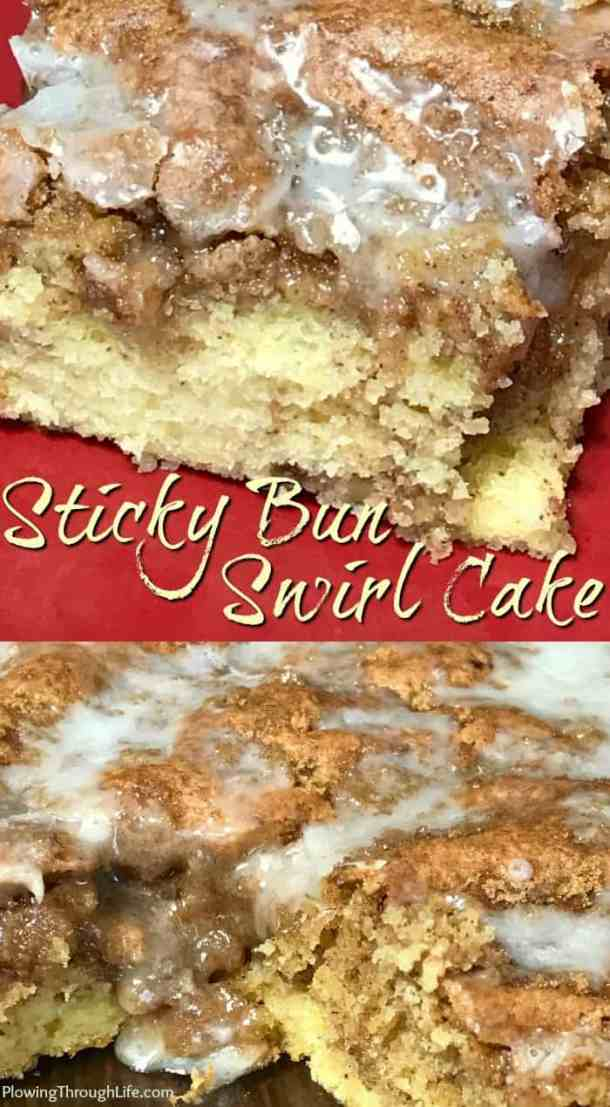 Are you craving a sweet cake from a box mix that tastes likebakeryquality? This Sticky Bun Swirl Cake is so easy to make and my son and husband LOVE it! A box cake mix is enhanced with a couple layers of brown sugar and cinnamon swirled together and drizzled with icing. #boxmixcake #easycake