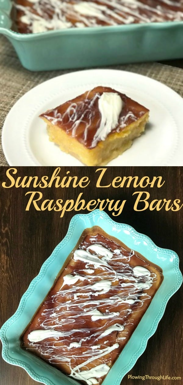 Are you looking forward to warm weather and easy fruity desserts? While these Sunshine Lemon-Raspberry Bars are delicious any time of the year they remind me of sunshine and warm weather. The white chocolate drizzle ties the lemon juice and raspberry jam flavors together perfectly!