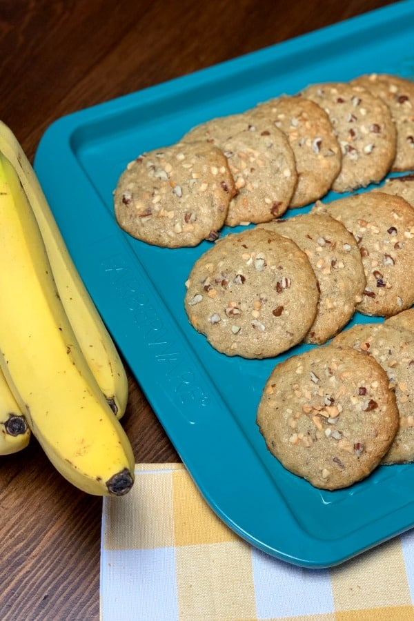 Banana Jumbos are an old-fashioned recipe that tastes like banana bread but in cookie form. These treats are so easy to make and they are the perfect way to use browning bananas to make a handy breakfast or snack.