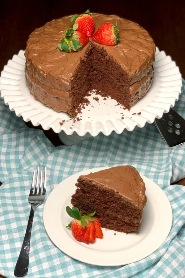 Chocolatetown Special Cake is an old fashioned homemade cake recipe that will delight chocolate lovers!  The homemade chocolate icing has a hot cocoa flavor that is irresistible!