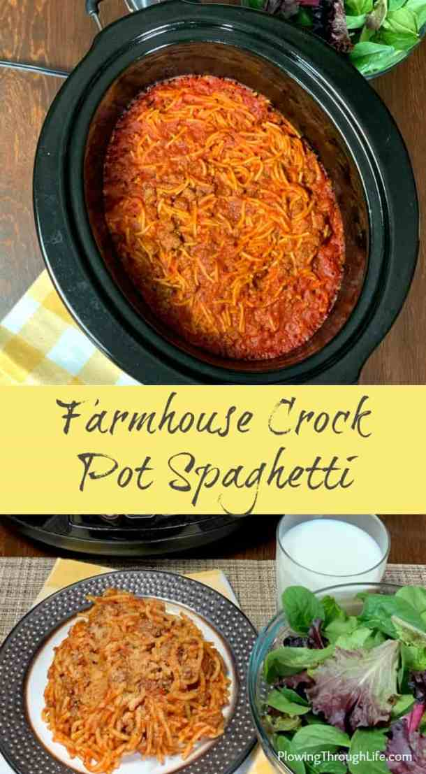 collage of Farmhouse Crock Pot Spaghetti is the crock pot and in a plate