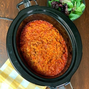 Easy crock pot spaghetti farmhouse style