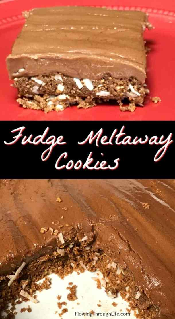 These Fudge Meltaway Cookies are too good to stop eating!  A layer of graham cracker crumbs, chocolate, butter and coconut topped with a perfectly creamy fudge makes an amazing bar cookie!