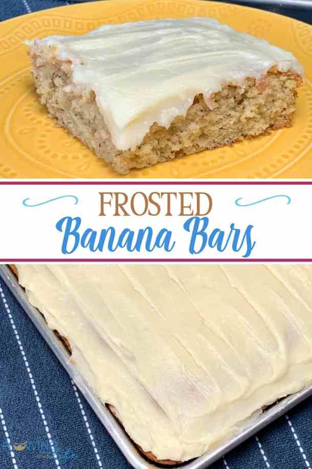 These Frosted Banana Bars are the perfect way to use bananas that are about to go bad in a delicious cake topped with cream cheese icing!