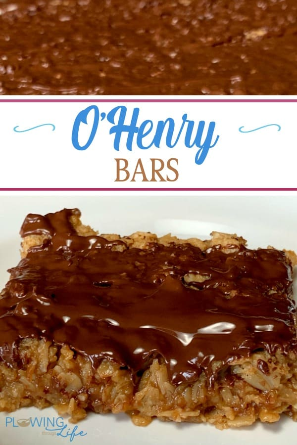 O'Henry Bars are the perfect combination of a candy bar and a granola bar.  A sweet oat and peanut butter mixture topped with chocolate are great for a potluck, carry-in or family meal dessert.