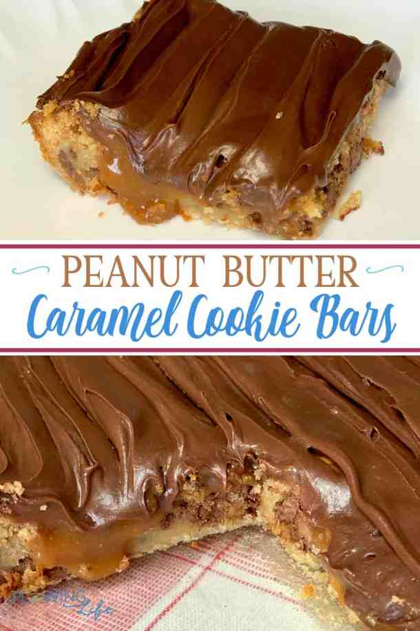 I have several great cake recipes from a box mix, but this is my first cookie recipe from a box mix and we LOVE it! I had no idea such rich and fancy tasting cookies could be so easy to make! A layer of cookies, topped with a caramel and peanut butter candy like layer and frosted with chocolate icing is AMAZING on these Peanut Butter Caramel Bars