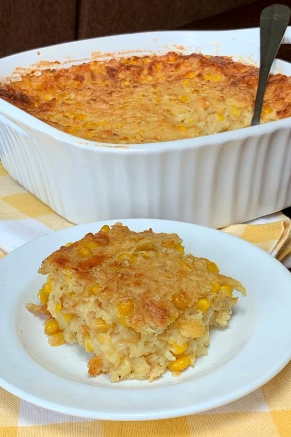 Scalloped Corn is a classic side dish at holiday meals and everyday family meals.  Our farm family loves corn and potato casseroles and this is one of those vintage recipes we will always cherish!  Scalloped corn casserole is so easy to make and tastes great!