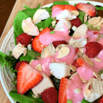 Fruity Strawberry Yogurt Salad Dressing close up in a bowl