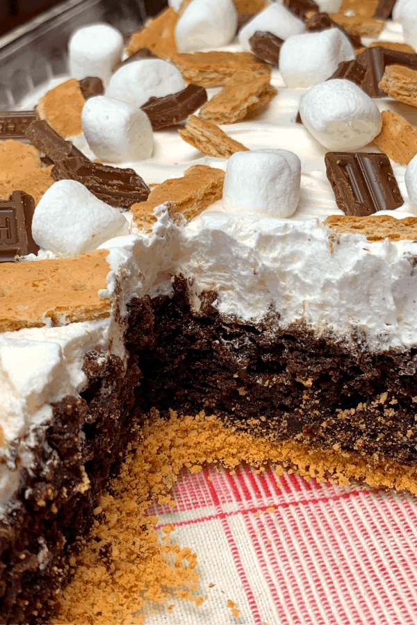 Graham cracker crumb layer and chocolate pudding cake with S'mores toppings