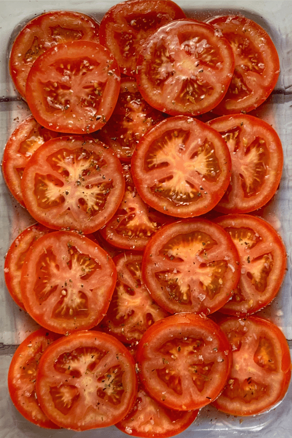 Tomatoes Marinated in salad oil, red wine vinegar, sugar, salt, oregano leaves and minced green onions
