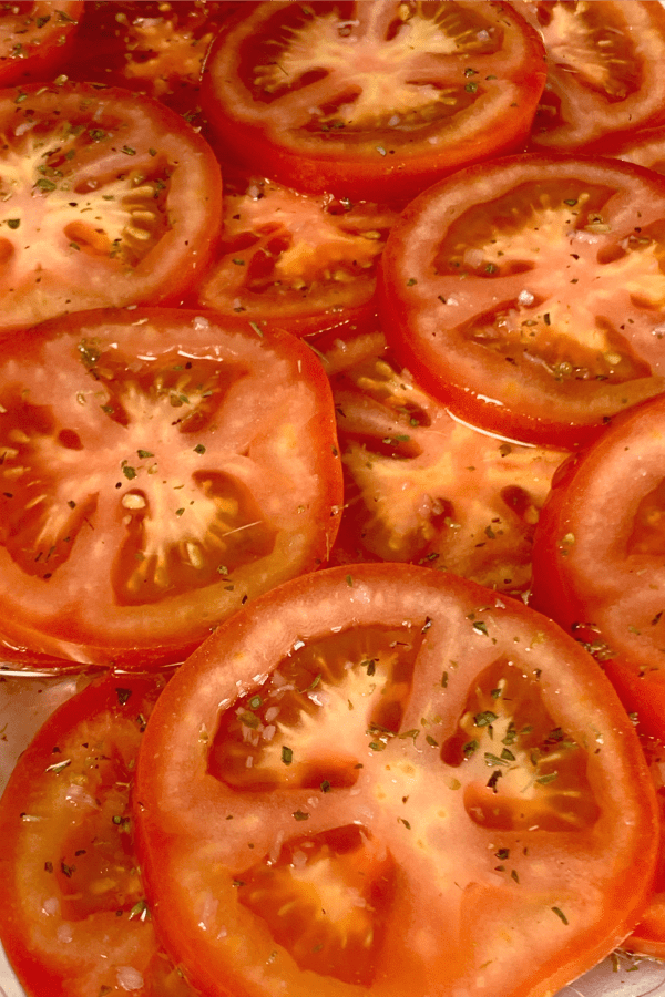lightly marinated fresh tomatoes