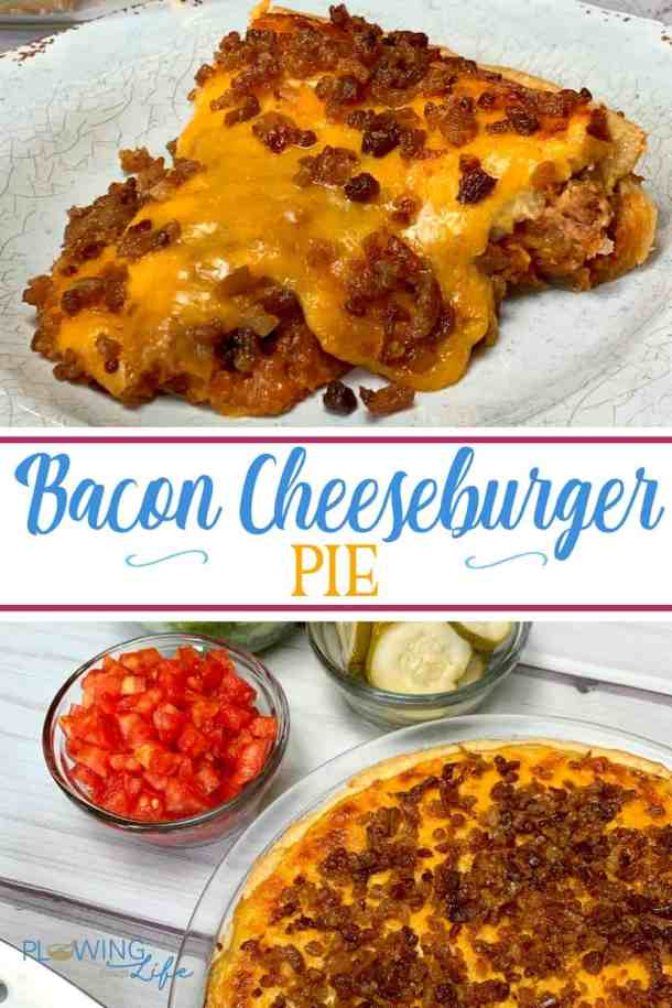This easy family meal with ground beef is a new favorite in our house!  Bacon Cheeseburger Pie with pie crust is an easy and delicious meal that everyone in our family enjoys!  Brown the hamburger, mix in a few ingredients, top with cheese and bacon and this meal is on the table in 30 minutes.