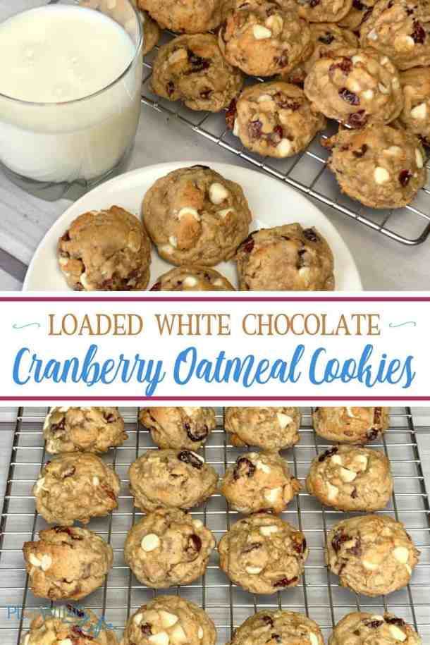 Do you crave a delicious oatmeal cookie with white chocolate chips and cranberries?  This special loaded White Chocolate Cranberry Oatmeal Cookie recipe tastes like it came from a bakery, but it's SO easy to make at home!  Everywhere I take these cookies people ask for the recipe!