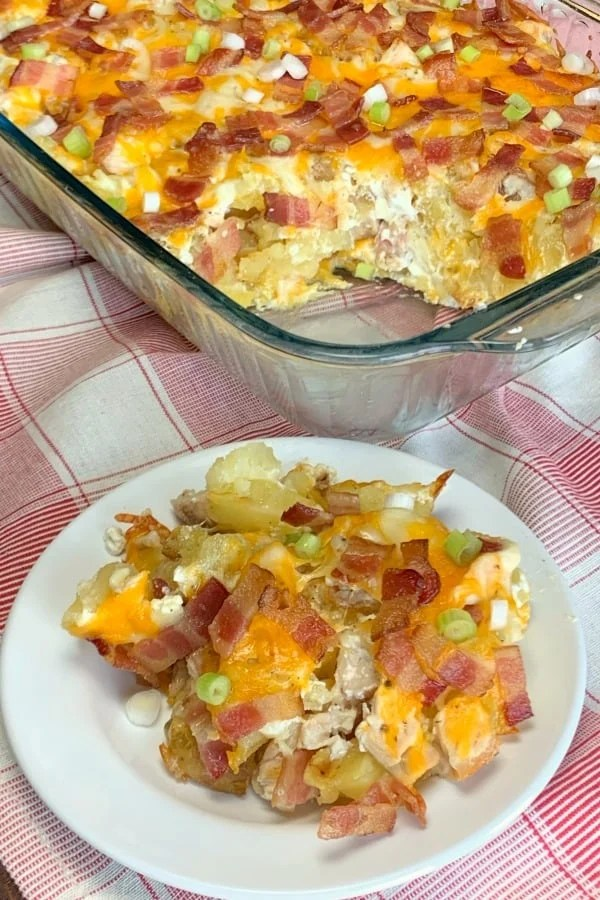 Imagine a loaded baked potato, cut into pieces with chicken added and baked in a casserole dish.  Every time I think about this meal my mouth waters!