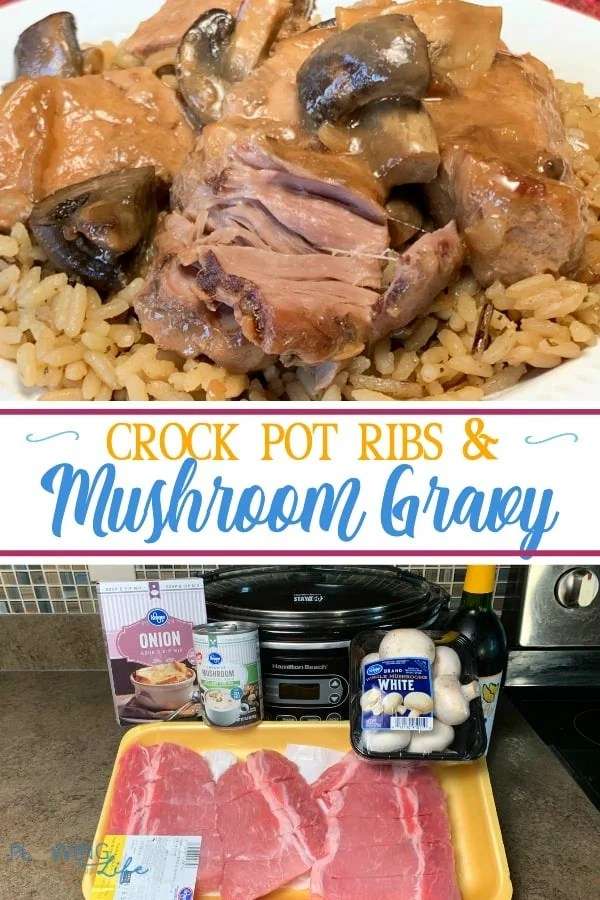 We love all of the flavors in country style ribs and we love fresh mushrooms in wine sauce, so this Slow Cooker Country Style Ribs with Mushroom Gravy is a real winner in our house!  These ribs are super tender and easy to make.  The aroma from the wine cooking smells great in the kitchen!