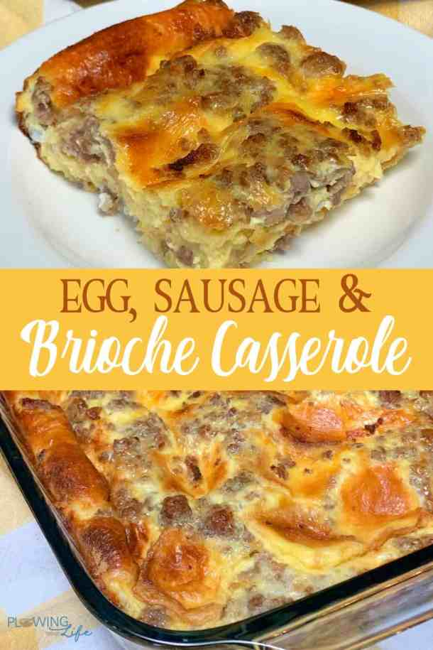 Brioche bread and maple sausage make a sweet and easy twist on a classic breakfast casserole. Egg, Sausage and Brioche Breakfast Casserole can be baked immediately or made ahead as an overnight casserole. This recipe is sure to draw people out of bed and start the day well!