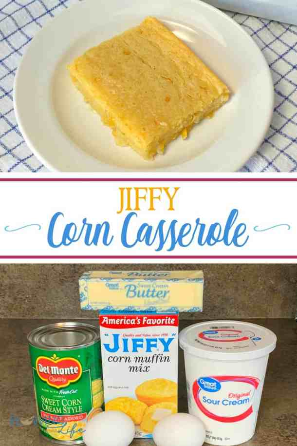 Our Farmhouse Jiffy Corn Pudding is a combination of a corn casserole and piece of cornbread. Corn casserole is the easy potluck recipe that we make in a pinch. Corn pudding makes a great side dish for several meals and goes great with barbecue!
